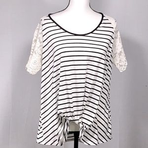UMGEE lace sleeve striped knot front top S